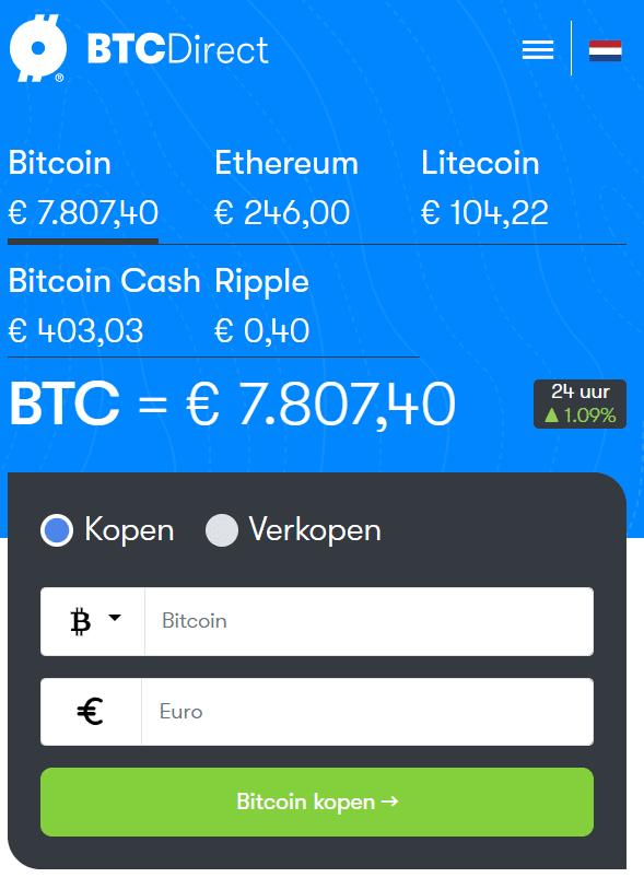 BTC Direct crypto kopen widget